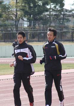 110131_梅木選手インタヒ゛ュー3(練習.JPG